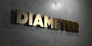 Diameter - Gouden teken opgezet op glanzende marmeren muur - 3D teruggegeven royalty vrije voorraadillustratie vector illustratie