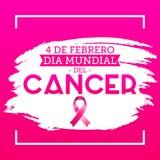Diameter mundial del Cancer - den februari för världscancerdagen 4 spanjoren smsar vektor illustrationer