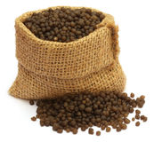 Diammonium phosphate fertilizer. In sack bag Royalty Free Stock Image
