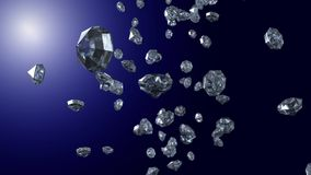 Diamods in blue light stock footage