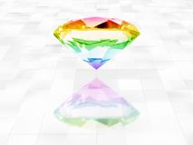 Diamond. Colorful diamond over white tiles background Stock Images