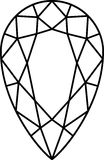 Diamond. This is an illustration of a tear-drop shaped diamond stone in black and white Stock Photography