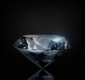 Diamond. Perfect large diamond on a black background. Isolated Stock Photos