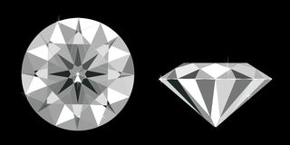 Diamond. Vector illustration - a radiant round diamond isolated on black top view and front Stock Photography