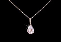 Diamond. Cushion cut diamond on black Royalty Free Stock Image