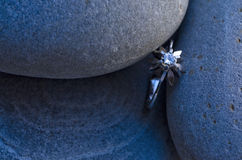 Diamond. A diamond ring on three pebbles Stock Photos