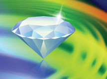 Diamond on Abstract Liquid Wave Background Stock Photo