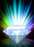 Diamond on Abstract Spectrum Background Stock Photo