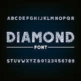 Diamond alphabet font. Brilliant letters and numbers. Royalty Free Stock Photo