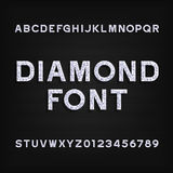 Diamond alphabet font. Brilliant letters and numbers. Stock Images
