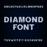 Diamond alphabet font. Brilliant letters symbols and numbers. Royalty Free Stock Photography