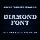 Diamond alphabet font. Brilliant type letters and numbers. Stock Photo