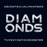Diamond alphabet font. Jewellery letters and numbers. Stock vector typeface for any typography design vector illustration