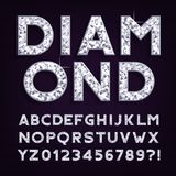 Diamond alphabet font. Luxury jewellery letters and numbers. Stock vector typography royalty free illustration