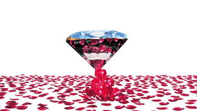 Diamond attracting rose petals, against white, stock footage stock video footage