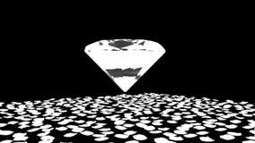 Diamond attracting rose petals, Luma Matte, stock footage stock video footage
