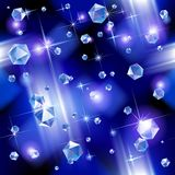 Diamond background. Falling diamond background under blue light. Vector illustration. There is in addition a vector format (EPS 10 Stock Image