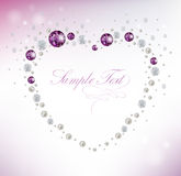 Diamond background. Background with heart of diamonds and pearls vector illustration