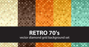 Diamond background set Retro 70s. Vector seamless geometric textures. With beige, brown, orange, yellow, green rounded diamonds on gradient backdrops Stock Image