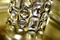 Diamond bangle. Close-up of beauty diamond bracelet Royalty Free Stock Photography