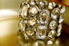 Diamond bangle. Close-up of beauty diamond bracelet Stock Photos