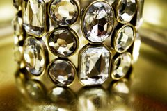 Diamond bangle. Close-up of beauty diamond bracelet Stock Photography