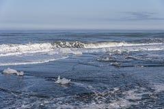 Diamond Beach - Ice in Ocean. Chunks of ice in the ocean, found on Diamond Beach, Iceland royalty free stock images