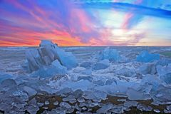 Diamond beach near Jökulsárlón lagoon in Iceland at sunset Royalty Free Stock Images