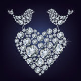 Diamond birds for Valentines day Royalty Free Stock Photography