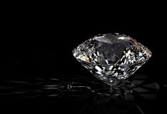 Diamond on black background Royalty Free Stock Photos