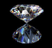 Diamond  on black background with clipping path Royalty Free Stock Photos