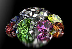 Diamond  on black background with clipping path Royalty Free Stock Images