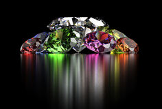 Diamond  on black background with clipping path Stock Photo