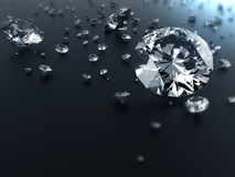 Diamond on black background with clipping path Stock Photos