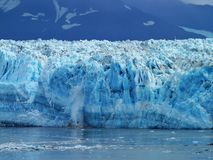 Hubbard Glacier In Alaska`s Inside Passage. Diamond blue sheets off ice breaking off the Hubbard Glacier in Alaska`s Inside Passage stock image