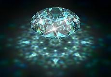 Diamond with blue tint. Big diamond with blue tint and caustic. 3D rendering Royalty Free Stock Images