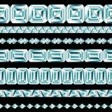 Diamond borders set. On black background Vector Illustration