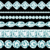 Diamond borders set. On black background Stock Illustration
