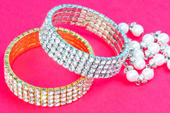 Diamond bracelets. Isolated on colored background Royalty Free Stock Image