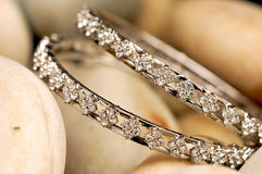 Diamond bracelets. Closeup looking great Royalty Free Stock Photo