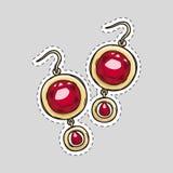 Diamond Brilliant Earrings Beautiful Accessory rojo Ilustración del Vector