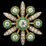 Diamond Brooch with Emeralds Stock Image