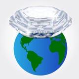 Diamond buried on earth Stock Photo