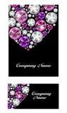 Diamond Business Card Vector noir de luxe abstrait Images stock