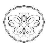 Diamond butterfly logo - ornament. Stylized butterfly ornament with borders. Black and white. Logo is isolated on a white background Royalty Free Stock Photography