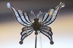 Diamond Butterfly Stick-Stiftbrosche Lizenzfreies Stockfoto