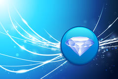 Diamond Button on Blue Abstract Light Background Royalty Free Stock Photography