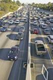 Diamond car pool lane on bottom right of 405 freeway near Sunset Blvd. at rush hour, Los Angeles, California Stock Image