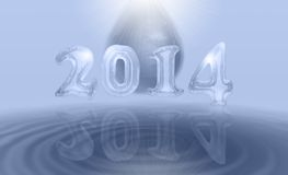 Diamond 2014 card. Happy new year 2014 card from iced numbers and diamond clear water Royalty Free Stock Photo