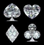 Diamond Card Suits a isolé au-dessus du noir illustration libre de droits